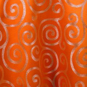 Orange with Silver Metallic Scroll