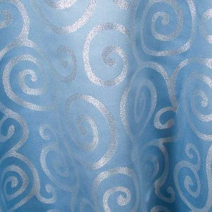 Blue with Silver Metallic Scroll
