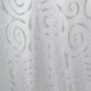 White with Silver Metallic Scroll