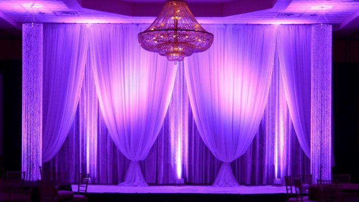 Triple Layer Backdrop with LED Uplighting