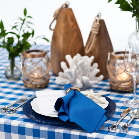 Royal Blue Gingham Check Table Linen