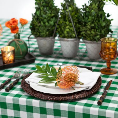 Green Gingham Check Table Linen