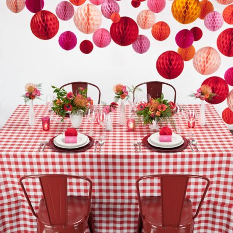 Red Gingham Check Table Linen
