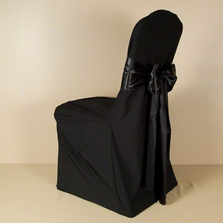 Black Polyester Chair Cover with Black Satin Sash