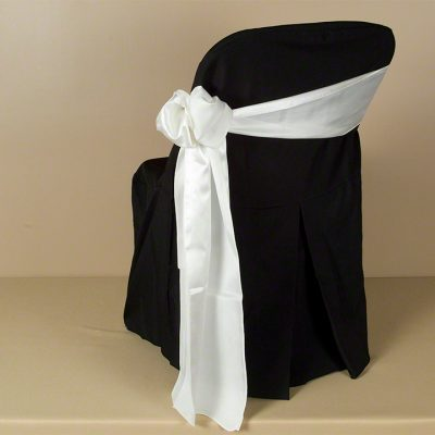 Black Polyester Folding Chair Cover with Ivory Satin Sash
