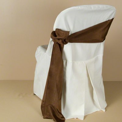 Ivory Polyester Folding Chair Cover with Chocolate Bengaline Moire Sash
