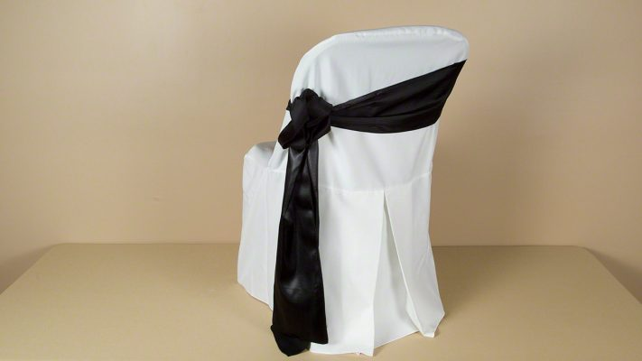 White Polyester Folding Chair Cover with Black Satin Sash
