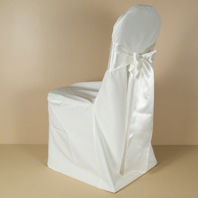 Ivory Polyester Chair Cover with Ivory Satin Sash
