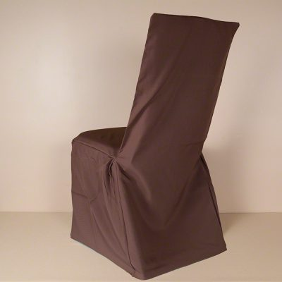 Chocolate Polyester MCSB Square Back Chair Cover