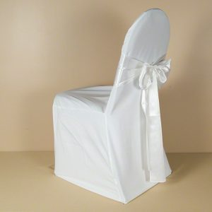 White Polyester Chair Cover with White Satin Sash