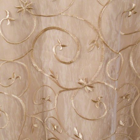 Champagne Embroidered Sheer over Camel Polyester
