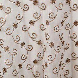 Bronze Metallic Embroidered Sheer