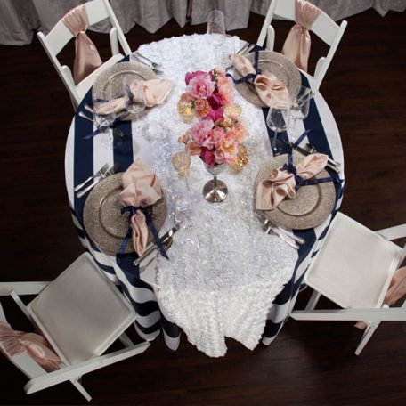 Navy 3' Stripe Tablescape with Cameo Shatung Napkins and Chair Ties