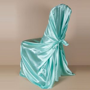 Aqua Satin Pillowcase Chair Cover