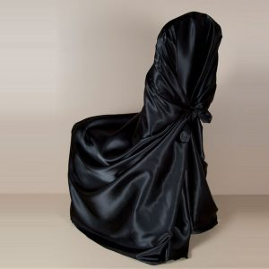 Black Satin Pillowcase Chair Cover