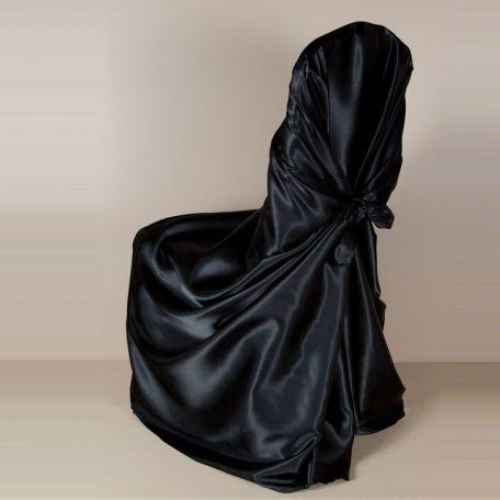 Black Satin Pillowcase Chair Cover