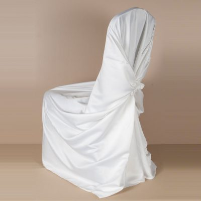 White Matte Satin Pillowcase Chair Cover