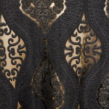 Black Imperial Sheer shown over Goldmine Matte Satin