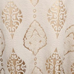 Ivory Imperial Sheer shown over Goldmine Matte Satin