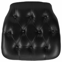 Black Faux Leather Tufted Chair pad for Chiavari Chairs
