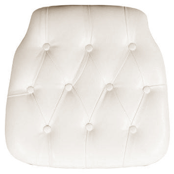 Ivory Faux Leather Tufted Chair pad for Chiavari Chairs