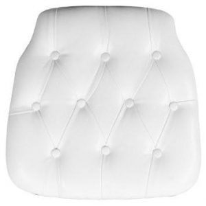 White Faux Leather Tufted Chair pad for Chiavari Chairs