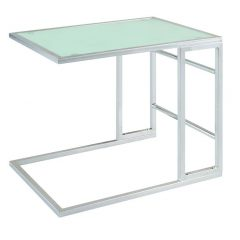 Chrome Slide In End Table with White Glass