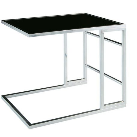 Chrome Slide In End Table with Black Glass
