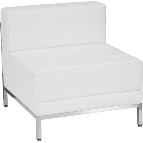 White Leather Imagination Middle Sectional Chair