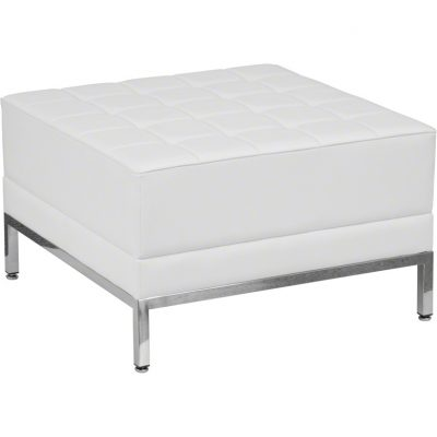 White Imagination Leather Ottoman