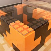 Orange and Brown Coffee Table with Clear Acrylic Top