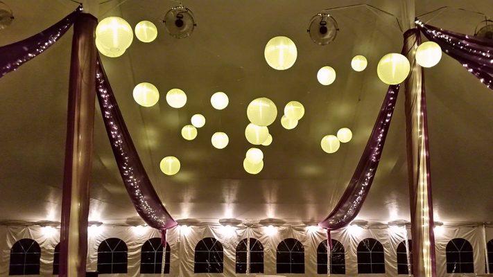 LanternsIlluminatedwithLEDLights Golden/HurstWeddingattheAnnArborMarriottatEaglecrest