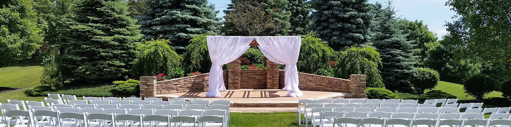 White draping on pergola