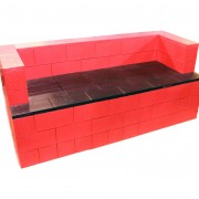 6' Red and Black Couch