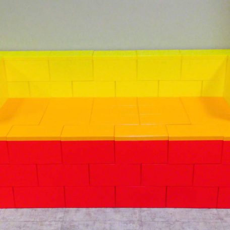 6' Red, Orange and Yellow Couch