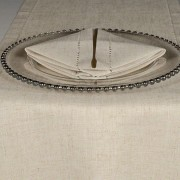 Oatmeal Avena Hemstitch Napkin with Glass Beaded Charger