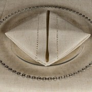 Oatmeal Avena Hemstitch Napkin with matching Hemstitch Runner no Glass Beaded Charger