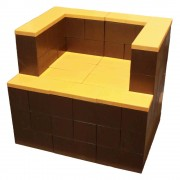 Brown and Orange Everblock Cantilever Lounge Chair