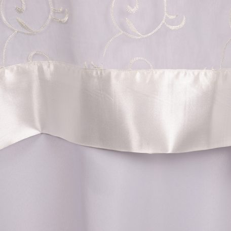 Ivory Embroidered Sheer with Ivory Satin Border