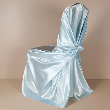 Light Blue Satin Pillowcase Chair Cover