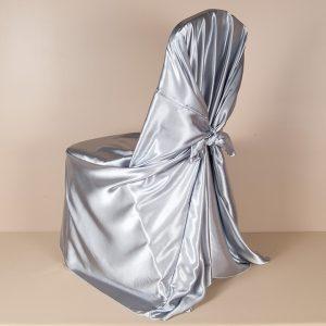 Light Silver Satin Pillowcase Chair Cover