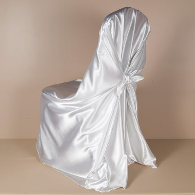 White Satin Pillowcase Chair Cover