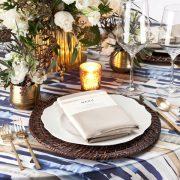 Blue Brushstroke Table Linen Rental for Events