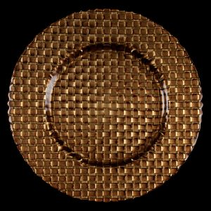 Braid Gold Brown Glass Charger