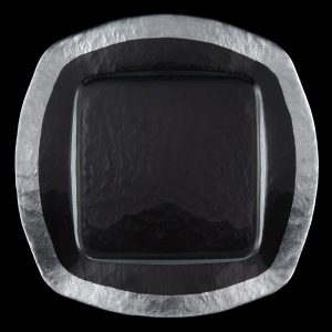 Ice Square Silver Glass Charger