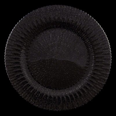 Marbella Black Glitter Glass Charger