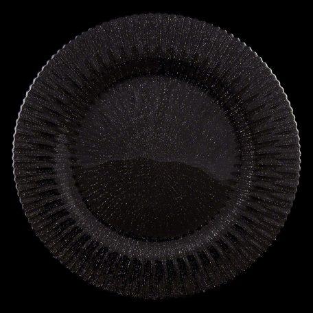 Marbella Black Glitter Glass Charger