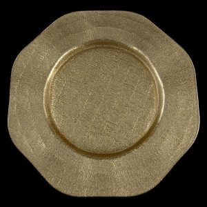 Octagon Gold Glass Charger