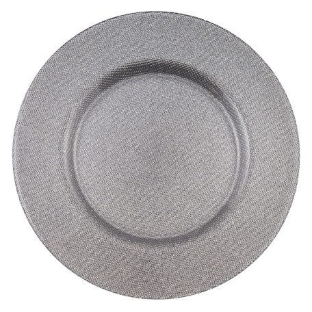 Reflex Silver Glitter Glass Charger