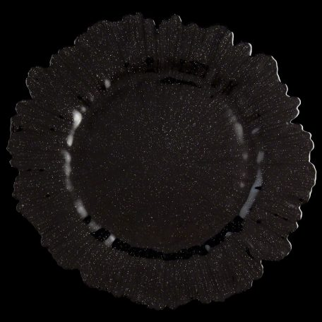 Sea Sponge Black Glitter Glass Charger